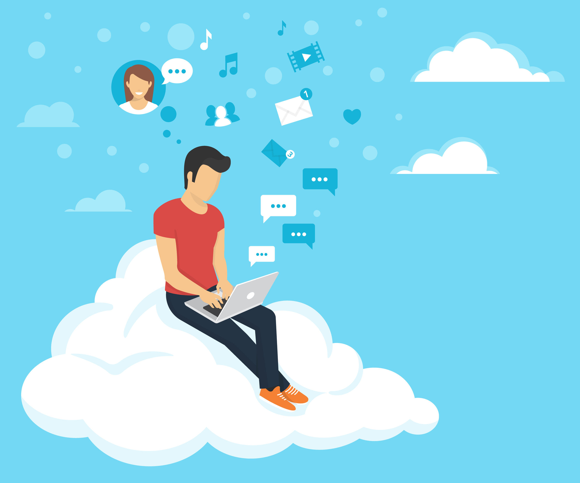 47938402 - young man sitting on the cloud in the sky and working with laptop. flat modern illustration of social networking and texting to friends